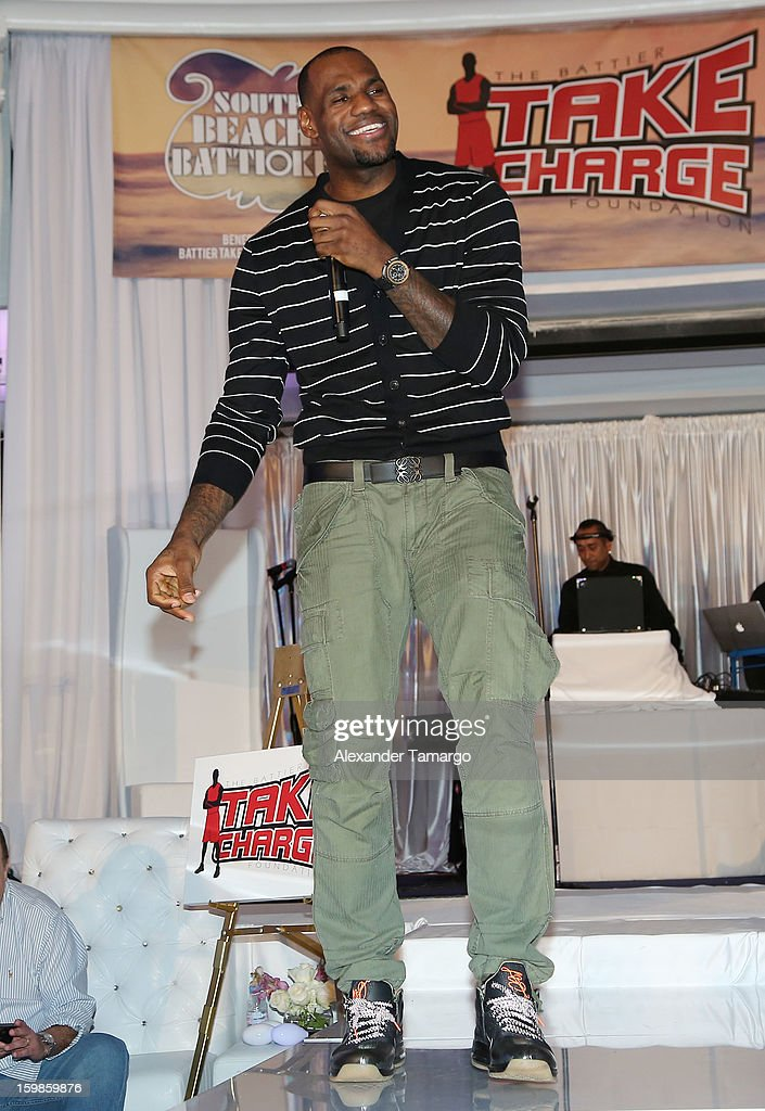 <a gi-track='captionPersonalityLinkClicked' href=/galleries/search?phrase=LeBron+James&family=editorial&specificpeople=201474 ng-click='$event.stopPropagation()'>LeBron James</a> attends the Second Annual 'South Beach Battioke' to Benefit The Battier Take Charge Foundation at Eden Roc Hotel on January 21, 2013 in Miami Beach, Florida.