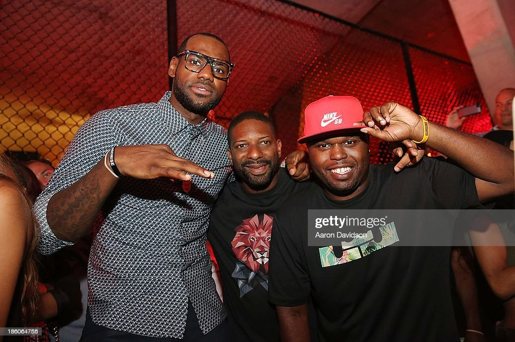 <a gi-track='captionPersonalityLinkClicked' href=/galleries/search?phrase=LeBron+James&family=editorial&specificpeople=201474 ng-click='$event.stopPropagation()'>LeBron James</a>, DJ Irie and DJ Steph Floss attend <a gi-track='captionPersonalityLinkClicked' href=/galleries/search?phrase=LeBron+James&family=editorial&specificpeople=201474 ng-click='$event.stopPropagation()'>LeBron James</a> 11/11 Experience hosted by Nike on October 27, 2013 in Miami Beach, Florida.