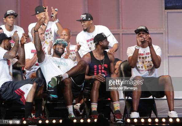 LeBron James Dwyane Wade and Chris Bosh of the Miami Heat attend the NBA Championship victory rally at the AmericanAirlines Arena on June 24 2013 in...