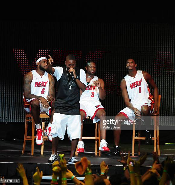 LeBron James Dwyane Wade Chris Bosh and DJ Irie attend HEAT Summer of 2010 Welcome Event at AmericanAirlines Arena on July 9 2010 in Miami Florida