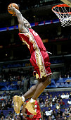 LeBron James from the Cleveland Cavaliers of the Rookie Team goes up for a dunk during the Got Milk Rookie Challenge part of the 53rd NBA AllStar...