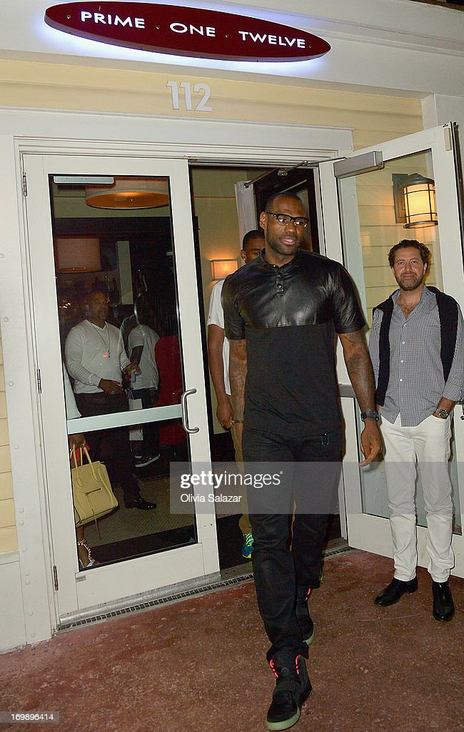 <a gi-track='captionPersonalityLinkClicked' href=/galleries/search?phrase=LeBron+James&family=editorial&specificpeople=201474 ng-click='$event.stopPropagation()'>LeBron James</a> is sighted at Prime 112 Steakhouse on June 3, 2013 in Miami Beach, Florida.