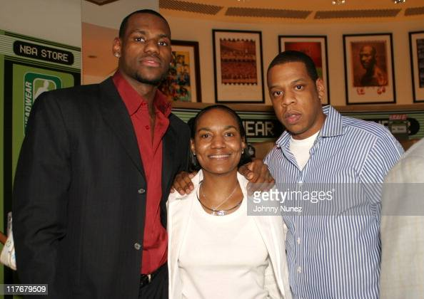 LeBron James LeBron James' mother and JayZ during Got Milk NBA Rookie of the Year 2004 Presented to LeBron James at NBA Store in New York City New...
