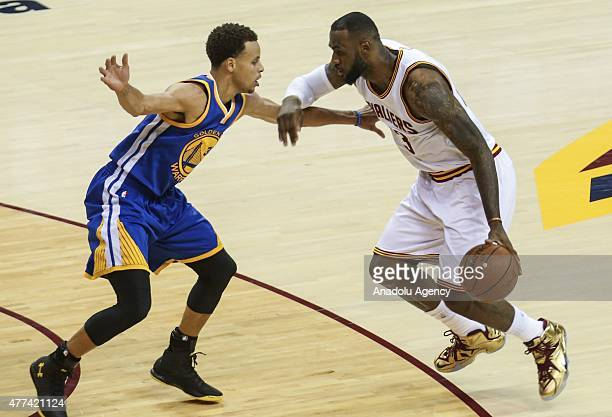 LeBron James of Cavaliers and Stephen Curry of Warriors in action during the Game 6 of the 2015 NBA Finals between Golden State Warriors vs Cleveland...