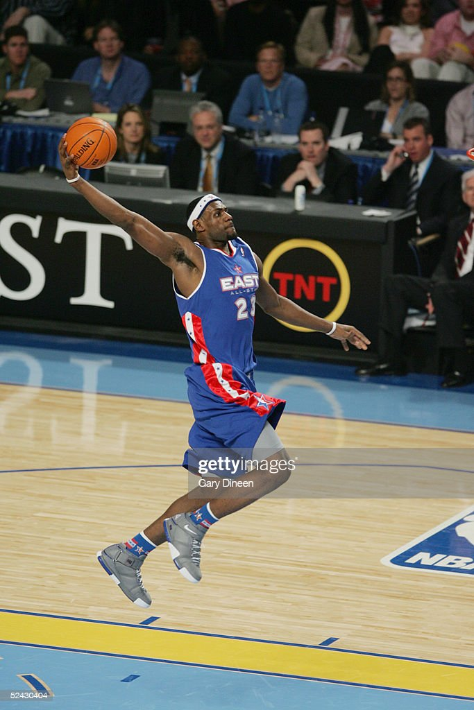 <a gi-track='captionPersonalityLinkClicked' href=/galleries/search?phrase=LeBron+James&family=editorial&specificpeople=201474 ng-click='$event.stopPropagation()'>LeBron James</a> #23 of Eastern Conference All-Stars shoots against the Western Conference All-Stars in the 54th All-Star Game, part of 2005 NBA All-Star Weekend at Pepsi Center on February 20, 2005 in Denver, Colorado. The East defeated the West 125-115.