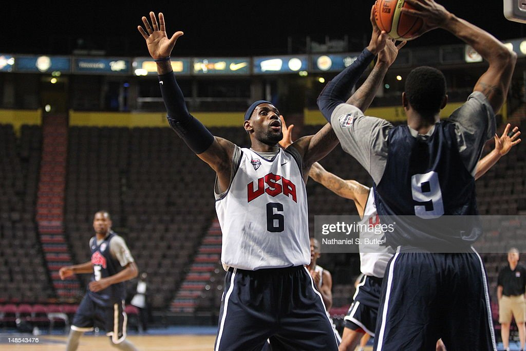 <a gi-track='captionPersonalityLinkClicked' href=/galleries/search?phrase=LeBron+James&family=editorial&specificpeople=201474 ng-click='$event.stopPropagation()'>LeBron James</a> #6 of the 2012 US Men's Senior National Team defends during a 2012 US Men's Senior National Team Practice at the Manchester Arena on July 18, 2012 in Manchester, UK.