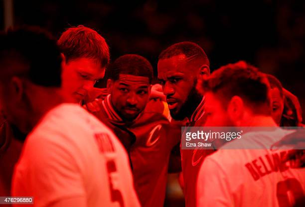 LeBron James of the Cleveland Cavaliers and his team huddle prior to Game Two of the 2015 NBA Finals against the Golden State Warriors at ORACLE...