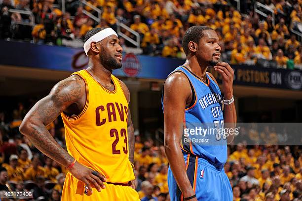 LeBron James of the Cleveland Cavaliers and Kevin Durant of the Oklahoma City Thunder during the game on January 25 2015 at Quicken Loans Arena in...
