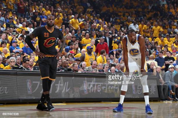 LeBron James of the Cleveland Cavaliers and Kevin Durant of the Golden State Warriors in Game Two of the 2017 NBA Finals on June 4 2017 at ORACLE...