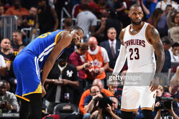 LeBron James of the Cleveland Cavaliers and Kevin Durant of the Golden State Warriors match up in Game Three of the 2017 NBA Finals on June 7 2017 at...