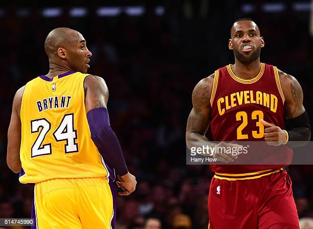 LeBron James of the Cleveland Cavaliers and Kobe Bryant of the Los Angeles Lakers match up during the first half at Staples Center on March 10 2016...