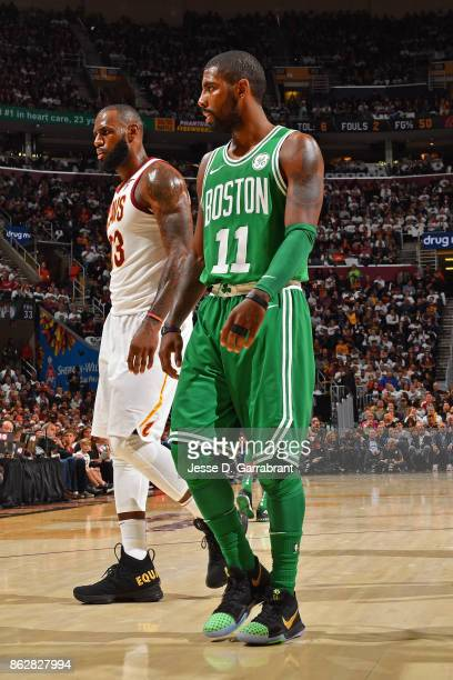 LeBron James of the Cleveland Cavaliers and Kyrie Irving of the Boston Celtics walk on the court during the game on October 17 2017 at Quicken Loans...