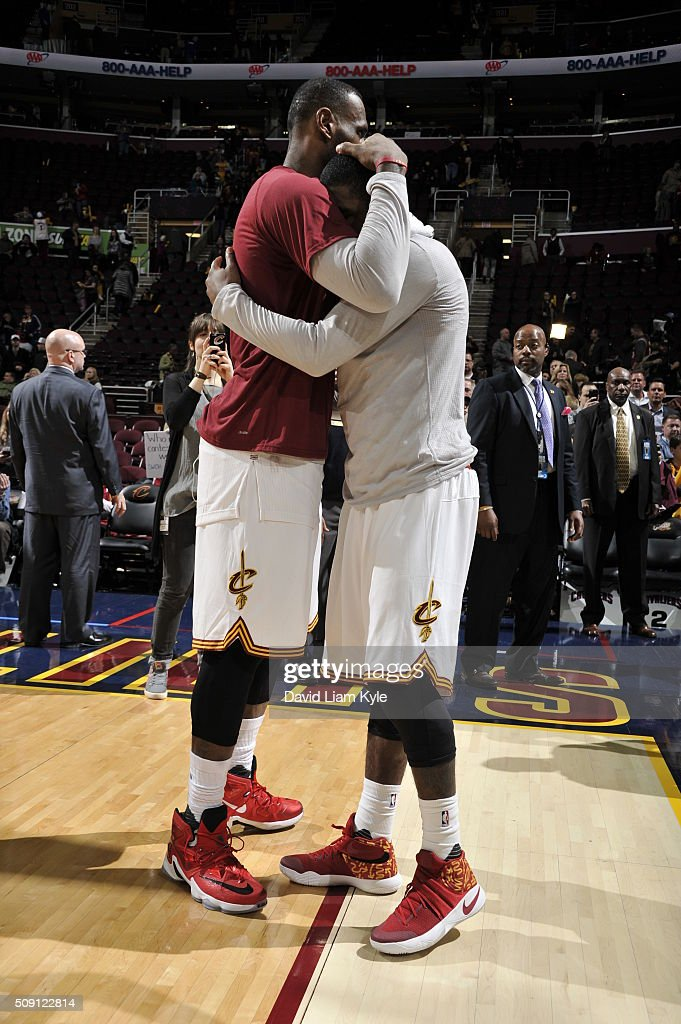 <a gi-track='captionPersonalityLinkClicked' href=/galleries/search?phrase=LeBron+James&family=editorial&specificpeople=201474 ng-click='$event.stopPropagation()'>LeBron James</a> #23 of the Cleveland Cavaliers and <a gi-track='captionPersonalityLinkClicked' href=/galleries/search?phrase=Kyrie+Irving&family=editorial&specificpeople=6893971 ng-click='$event.stopPropagation()'>Kyrie Irving</a> #2 of the Cleveland Cavaliers celebrate after the game against the Sacramento Kings on February 8, 2016 at Quicken Loans Arena in Cleveland, Ohio.