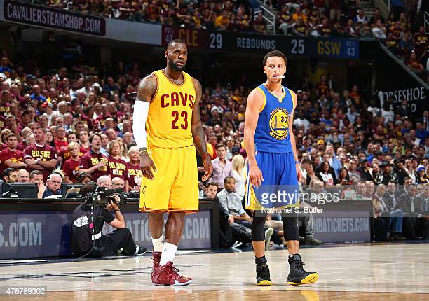 LeBron James of the Cleveland Cavaliers and Stephen Curry of the Golden State Warriors during Game Four of the 2015 NBA Finals at The Quicken Loans...