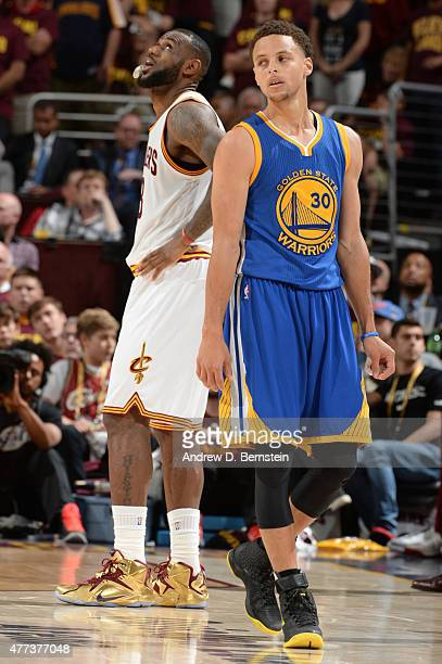 LeBron James of the Cleveland Cavaliers and Stephen Curry of the Golden State Warriors during Game Six of the 2015 NBA Finals at The Quicken Loans...