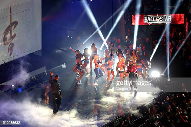 LeBron James of the Cleveland Cavaliers and the Eastern Conference is introduced as rapper Drake looks on during the NBA AllStar Game 2016 at the Air...