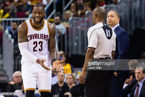 LeBron James of the Cleveland Cavaliers argues a call with referee Courtney Kirkland during the second half against the Indiana Pacers at Quicken...