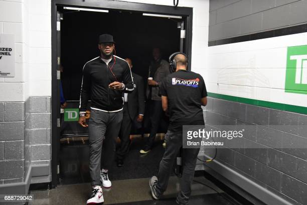 LeBron James of the Cleveland Cavaliers arrives at the arena before the game against the Boston Celtics in Game Five of the Eastern Conference Finals...