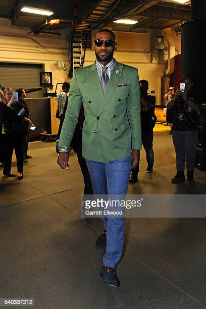 LeBron James of the Cleveland Cavaliers arrives before Game Four of the 2016 NBA Finals against the Golden State Warriors at The Quicken Loans Arena...