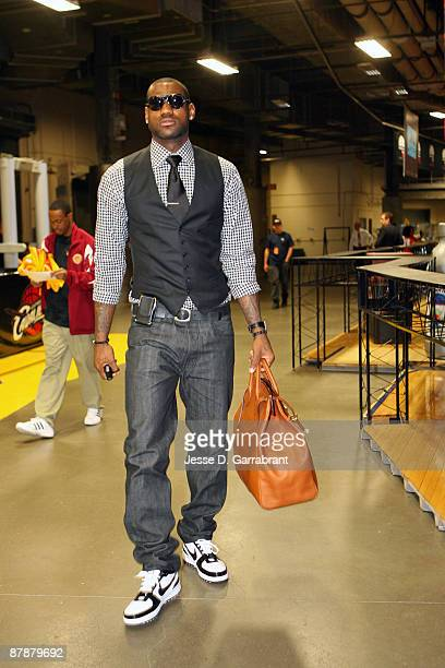 LeBron James of the Cleveland Cavaliers arrives before playing against the Orlando Magic in Game One of the Eastern Conference Finals during the 2009...