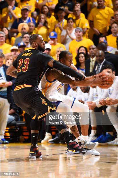 LeBron James of the Cleveland Cavaliers attempts to steal the ball from Andre Iguodala of the Golden State Warriors in Game Five of the 2017 NBA...