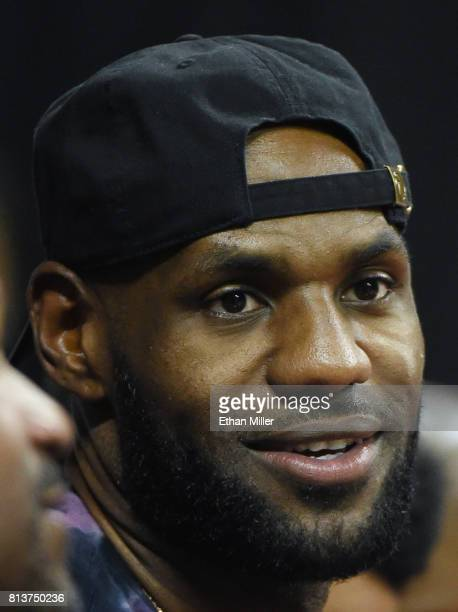 LeBron James of the Cleveland Cavaliers attends a game between the Los Angeles Lakers and the Philadelphia 76ers during the 2017 Summer League at the...