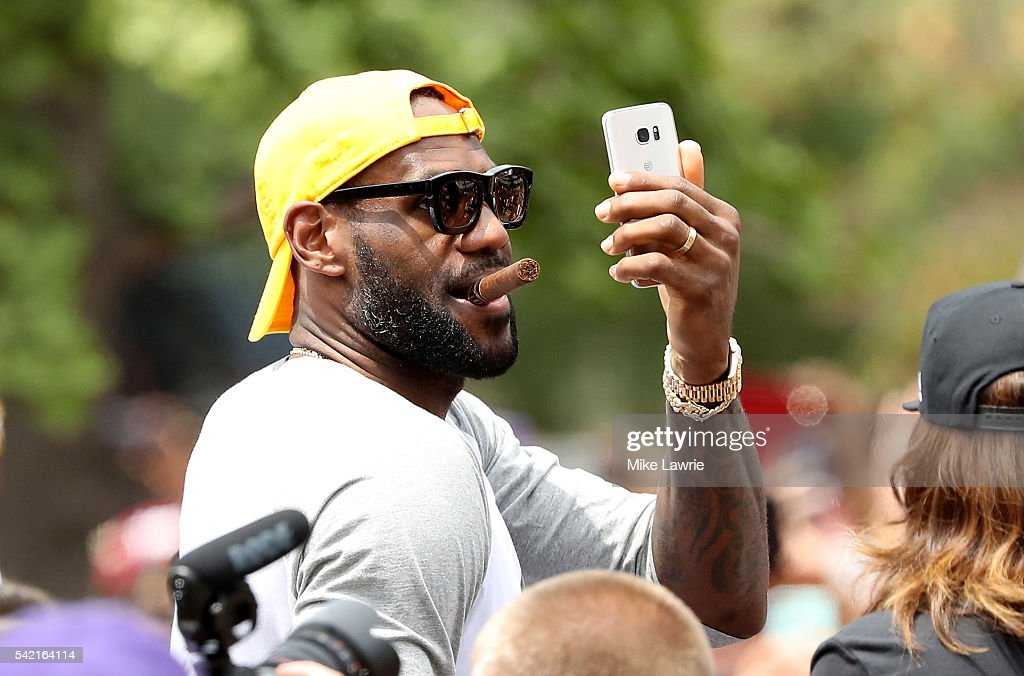 LeBron James of the Cleveland Cavaliers attends the Cleveland Cavaliers 2016 NBA Championship victory parade and rally on June 22 2016 in Cleveland...