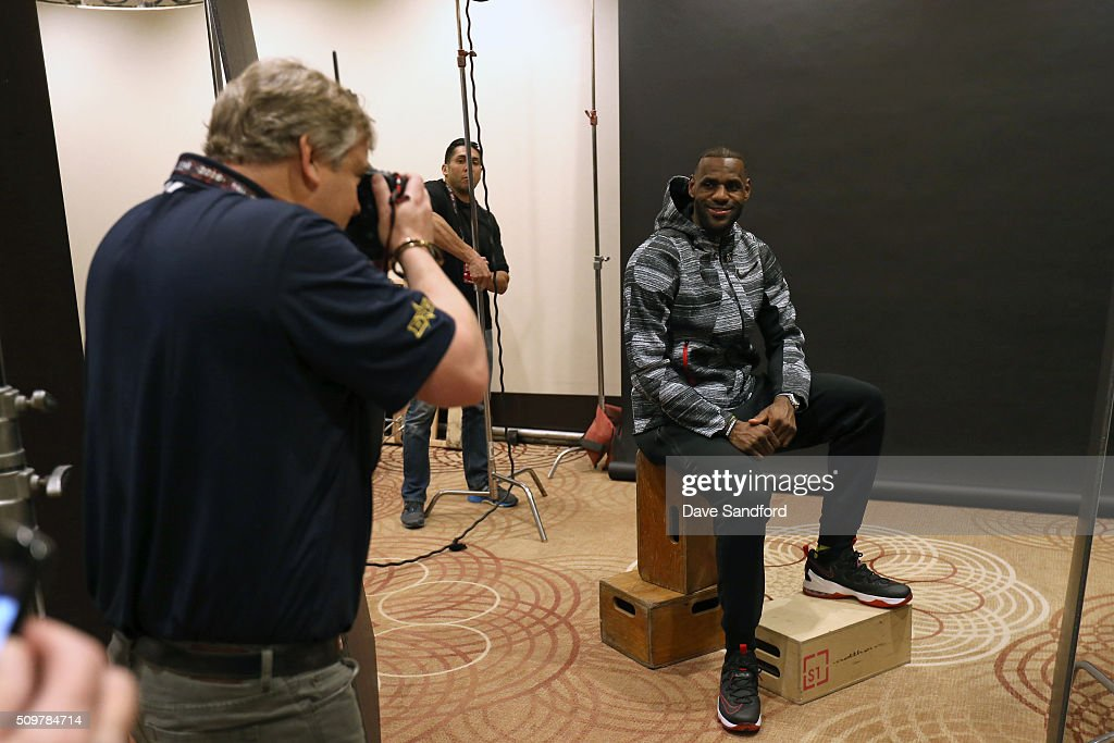 LeBron James #23 of the Cleveland Cavaliers behind the scenes during the NBAE Circuit as part of 2016 NBA All-Star Weekend at the Sheraton Centre Toronto Hotel on February 12, 2016 in Toronto, Ontario, Canada.