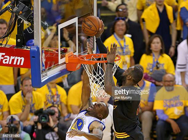 LeBron James of the Cleveland Cavaliers blocks a shot against Andre Iguodala of the Golden State Warriors during Game Seven of the 2016 NBA Finals on...