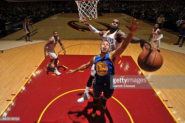 LeBron James of the Cleveland Cavaliers blocks the shot of Stephen Curry of the Golden State Warriors during Game Six of the 2016 NBA Finals on June...