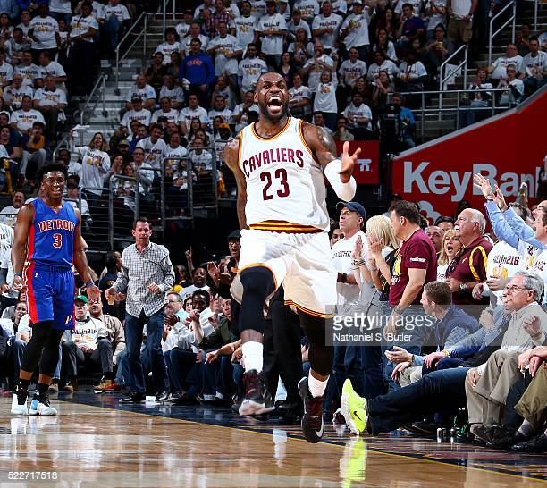 LeBron James of the Cleveland Cavaliers celebrates a dunk against the Detroit Pistons in Game Two of the Eastern Conference Quarterfinals during the...