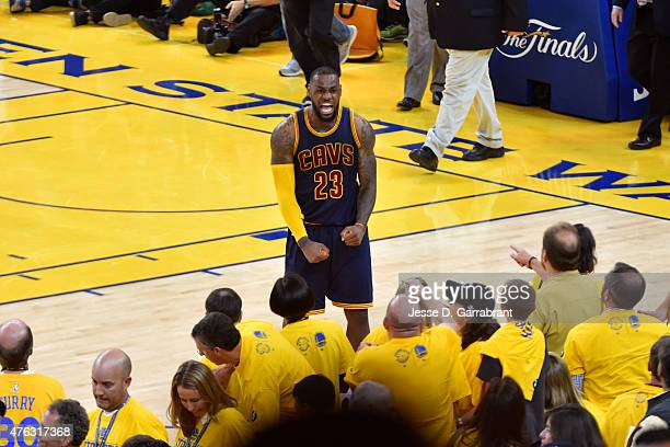 LeBron James of the Cleveland Cavaliers celebrates after defeating the Golden State Warriors in Game Two of the 2015 NBA Finals on June 7 2015 at...