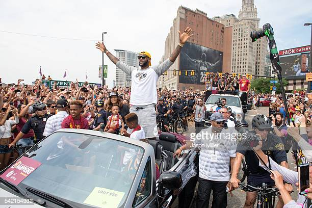 LeBron James of the Cleveland Cavaliers celebrates during the Cleveland Cavaliers 2016 championship victory parade and rally on June 22 2016 in...