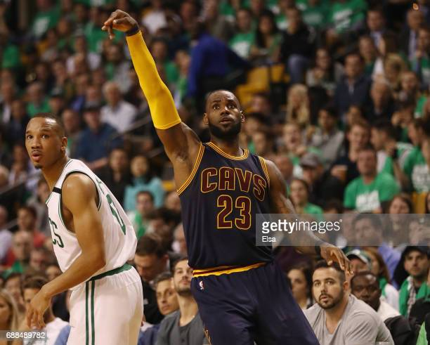 LeBron James of the Cleveland Cavaliers celebrates his three point shot that made him the all time playoff points leader passing Michael Jordan in...
