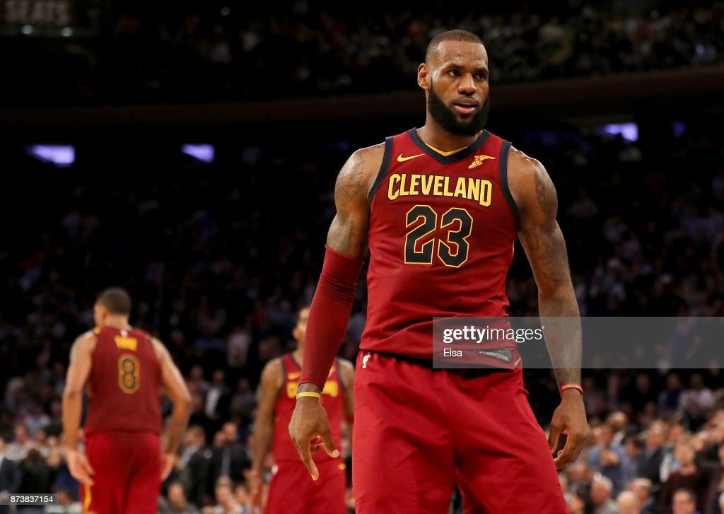 LeBron James #23 of the Cleveland Cavaliers celebrates his three point shot to give the Cleveland Cavaliers the lead over the New York Knicks in the fourth quarter at Madison Square Garden on November 13, 2017 in New York City.The Cleveland Cavaliers defeated the New York Knicks 104-101.
