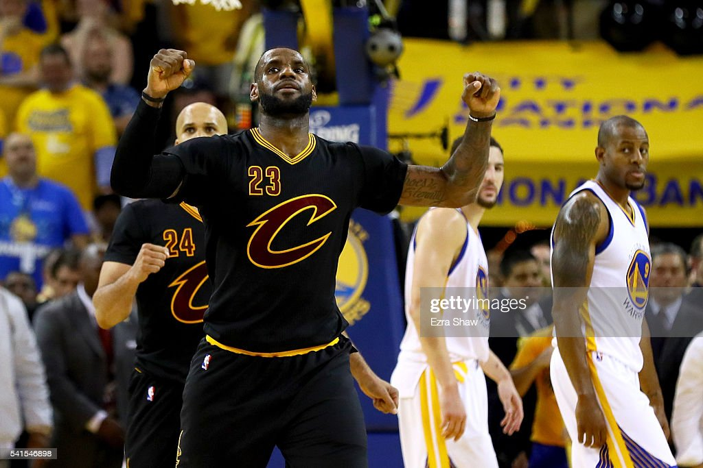 LeBron James of the Cleveland Cavaliers celebrates in the final moments of Game 7 of the 2016 NBA Finals against the Golden State Warriors at ORACLE...