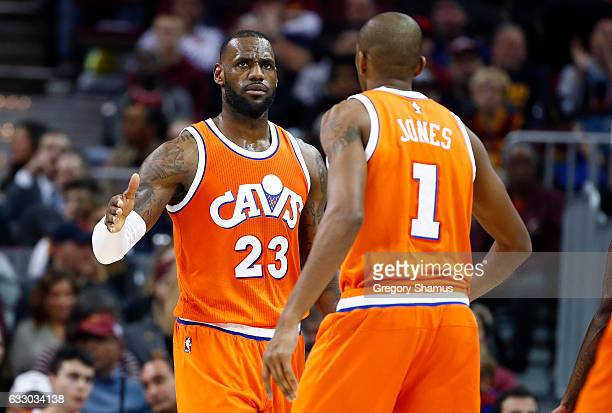 LeBron James of the Cleveland Cavaliers celebrates late in the game with James Jones while playing the Oklahoma City Thunder at Quicken Loans Arena...