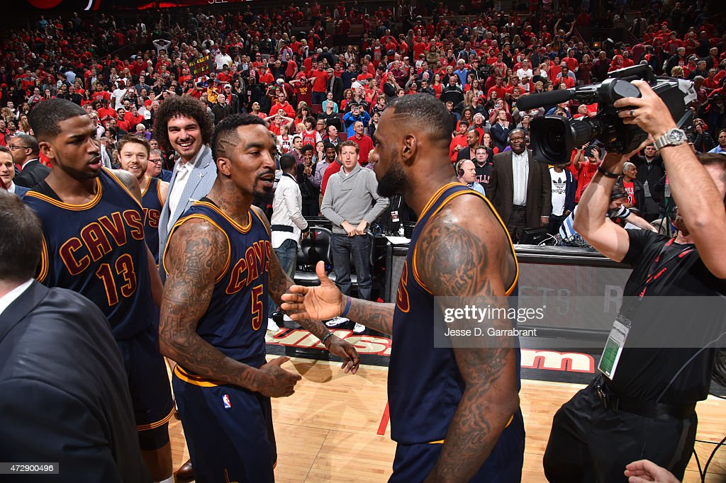 LeBron James #23 of the Cleveland Cavaliers celebrates with J.R. Smith #5 after hitting the game winning shot with .7 seconds left in the game against the Chicago Bulls at the United Center During Game Four of the Eastern Conference Semifinals during the 2015 NBA Playoffs on May 10, 2015 in Chicago, Illinois