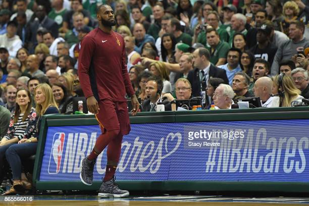 LeBron James of the Cleveland Cavaliers checks into a game against the Milwaukee Bucks at the Bradley Center on October 20 2017 in Milwaukee...