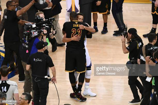 LeBron James of the Cleveland Cavaliers congratulates Stephen Curry of the Golden State Warriors after the Warriors defeated the Cleveland Cavaliers...