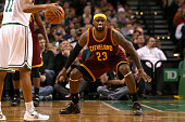 LeBron James of the Cleveland Cavaliers defends Evan Turner of the Boston Celtics at TD Garden on November 14 2014 in Boston Massachusetts NOTE TO...
