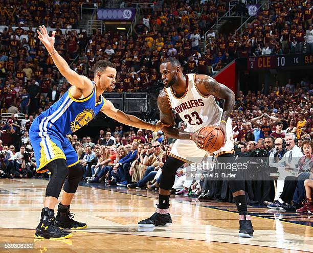 LeBron James of the Cleveland Cavaliers defends the ball against Stephen Curry of the Golden State Warriors during Game Four of the 2016 NBA Finals...