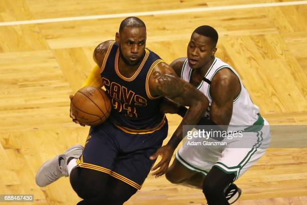LeBron James of the Cleveland Cavaliers dribbles against Terry Rozier of the Boston Celtics in the first half during Game Five of the 2017 NBA...