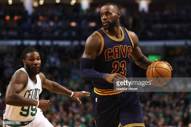 LeBron James of the Cleveland Cavaliers dribbles past Jae Crowder of the Boston Celtics during the first quarter at TD Garden on March 1 2017 in...