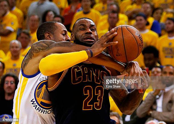 LeBron James of the Cleveland Cavaliers drives against Andre Iguodala of the Golden State Warriors in the second quarter during Game Two of the 2015...
