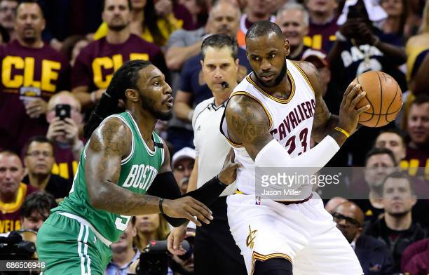 LeBron James of the Cleveland Cavaliers drives against Jae Crowder of the Boston Celtics in the first quarter during Game Three of the 2017 NBA...