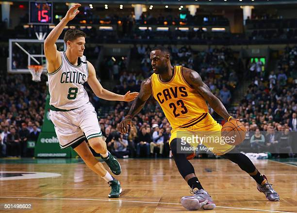 LeBron James of the Cleveland Cavaliers drives against Jonas Jerebko of the Boston Celtics during the first quarter at TD Garden on December 15 2015...