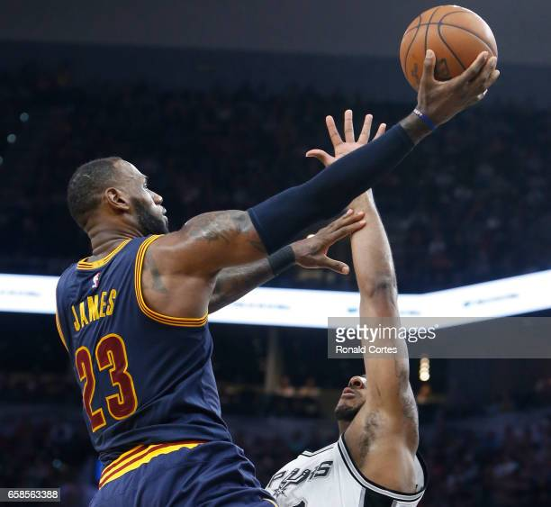 LeBron James of the Cleveland Cavaliers drives against the San Antonio Spurs at ATT Center on March 27 2017 in San Antonio Texas NOTE TO USER User...