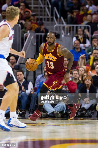 LeBron James of the Cleveland Cavaliers drives down the court during the second half against the New York Knicks at Quicken Loans Arena on February...