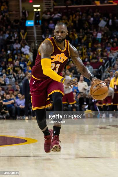 LeBron James of the Cleveland Cavaliers drives during the second half against the New York Knicks at Quicken Loans Arena on February 23 2017 in...